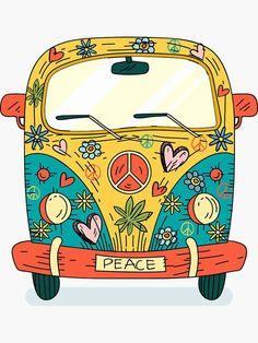 """hippie painting ideas 449374869068874729 - """"The Hippie Van"""" Sticker by praaf Hippie Drawing, Hippie Painting, Trippy Painting, Peace Painting, Pintura Hippie, Paz Hippie, Hippie Art, Hippie Peace, Happy Hippie"""
