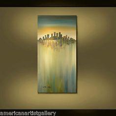 ABSTRACT-ORIGINAL-Painting-Cityscape-Large-24X48-Surrealism-Art-By-Thomas-John