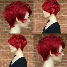 Thick Curly Long Pixie Cut with Electric-Red Coloring