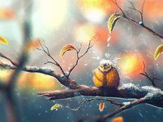 Artistic Painting  Snow Bird Winter Funny Speedpaint Wallpaper