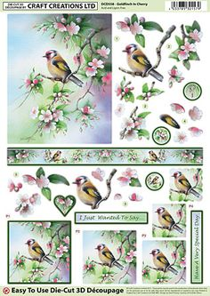 Craft Creations A4 die cut decoupage - Goldfinch in Cherry
