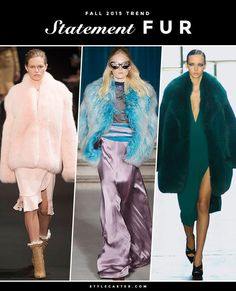 The 12 Biggest Fashion Trends for Fall 2015 - Statement Fur—both real and faux—in BOLD colors.