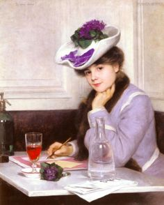 """Hmm...perhaps I need to be writing with a nosegay of violets at my side, and more piled on my head. (I'm not procrastinating. Really, I'm not.) """"De quoi écrire (What to Write)"""" by Hermann Fenner- Behmer, c1890, private collection. #womenwriting #womenwriter #1890s #whattowrite #inspiration #violets #germanart #germanartist #arthistory #historyofart #heartart"""