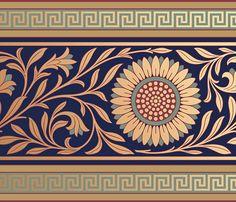 Historic art wallpaper metford frieze in cerulean bradbury & Victorian Interiors, Victorian Furniture, Victorian Art, Border Pattern, Border Design, Pattern Art, Art Deco Movement, Aesthetic Movement, Decadent Movement