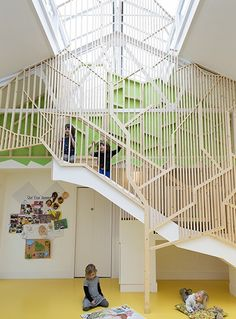 Lipton Plant Architects have extended and refurbished The Bath House Children's Community Centre in Dalston, North London. The Bath House is a multi-purpose facility functioning daily as a nursery for children aged Kindergarten Interior, Kindergarten Design, Kids Cafe, Nursery School, Indoor Playground, Learning Spaces, School Architecture, Kid Spaces, School Design