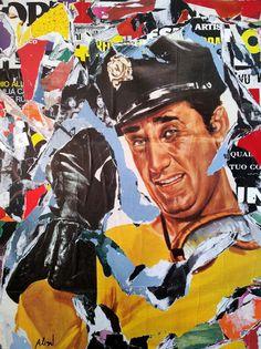 Umberto Alizzi Un americano a Roma Décollage Omaggio ad Alberto Sordi pop art collage street art urban art Mimmo Rotella cinema italiano manifesti cinematografici locandine movie poster