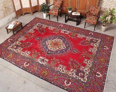 """Oushak Rug Oriental Vintage Turkish Bohemian Hooked Area Rug 9'5"""" x 12'5"""", Code: 071807 Persian Rug large rug Large Area Rugs, Small Rugs, Persian Carpet, Persian Rug, Vintage Home Decor, Vintage Rugs, Vintage Wool, Floral Rug, Red Rugs"""