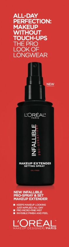 No matter where your day takes you, L'Oreal Infallible Pro-Spray & Set Makeup Extender will keep you stylish from A.M. to P.M.