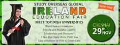 Meet top Irish Universities tomorrow in Chennai!  *Get Spot Offers  *World Ranked Universities  *Friendly and Peaceful Country  *Scholarships & Discounts  *1 Year Post Study Work (PSW) Visa  *Easy Conversion of PSW to Green Card #StudyOverseas #IrelandFair #Chennai #EducationFair