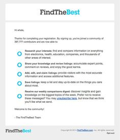 Welcome Email Design from FindTheBest - Really Good Emails