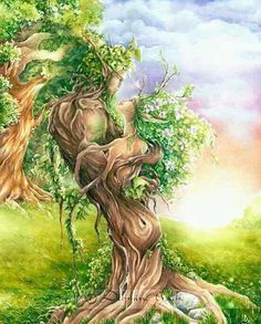 SciFi and Fantasy Art Ent lovers by Delphine Gache Fantasy Kunst, Fantasy Art, Dame Nature, Josephine Wall, Green Man, Gods And Goddesses, Tree Art, Optical Illusions, Tree Of Life