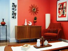 love a red wall Living Room Red, Living Room Kitchen, Living Area, Modern Interiors, Beautiful Interiors, Mid Century Cabinet, Interior Decorating, Interior Design, Red Walls