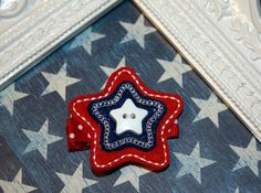 Boutique Star July 4th Button hair clip Red White Blue by MadEli, $3.25