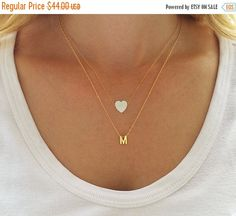 Gold Layered Necklaces Set Initial Necklace White Opal Heart Necklace Opal Jewelry Heart Charm Necklace Gold Letter Necklace - Jewelry - Ideas of Jewelry - Layering necklace set Initial necklace Opal heart by HLcollection Initial Necklace Gold, Diamond Solitaire Necklace, Letter Necklace, Dainty Necklace, Dainty Jewelry, Opal Jewelry, Simple Necklace, Star Necklace, Fine Jewelry