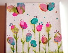 Crafty Little Pigtails: Fingerprint flowers and Butterfly thumbs.a new canvas! Art For Kids, Crafts For Kids, Arts And Crafts, Thumb Painting, Finger Painting For Kids, Fingerprint Crafts, Butterfly Canvas, Butterfly Painting, Finger Art