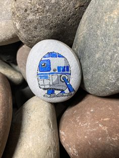 Painted Rocks, Hand Painted, R2 D2, Rock Design, Pick Me Up, Garden Crafts, Stone Art, Paper Weights, Rock Art