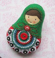 Matryoshka Doll Felt Softie, Folk, Polish design, polski dizajn, polskie wzornictwo, made in Poland. Pinned by #AdrianWerner