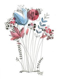 Fleurs rouge et bleues  Cécile Hudrisier 2018