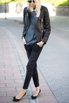best sneakers 8e10e bba1c What to Wear This Week  Leather Jacket, Slim Straight Leg Jeans, Black Flats