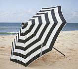 Sunbrella® Round Umbrella - Black & White Stripe