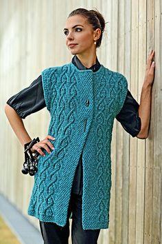 Ravelry: Arcade Vest pattern by Linda Marveng Knit Vest Pattern, Knit Patterns, Knitting Patterns Free, Celtic Patterns, I Cord, Seed Stitch, Arm Knitting, Crochet Fashion, Knitting Designs