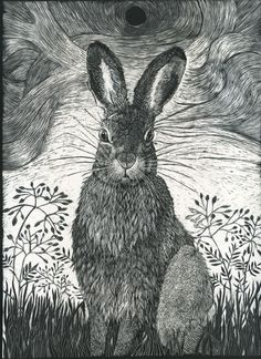 Art Print from Scraperboard Original of Hare in the by KayLeverton, £30.00