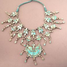 India   Traditional collar necklace from Cashmere   Silver and turquoise.