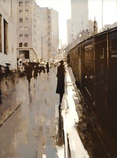 """City Scape by Geoffrey Johnson, 44 x Oil on Panel -- at Principle Gallery Urban Painting, City Painting, Figure Painting, Arts And Crafts Storage, Art For Art Sake, City Art, Urban Landscape, Graphic, Landscape Paintings"