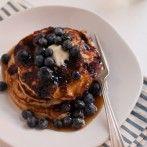 PANCAKES: Gluten-Free Blueberry Lemon Yogurt Pancakes - Cookie and Kate - #Greek Yogurt