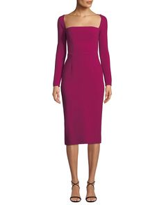 Shop Open-Neck Long-Sleeve Fitted Sheath Cocktail Dress from Lela Rose at Neiman Marcus Last Call, where you'll save as much as on designer fashions. Cocktail Dresses With Sleeves, V Neck Cocktail Dress, Designer Cocktail Dress, Lela Rose, V Neck Wedding Dress, Different Dresses, Luxury Dress, Party Dresses For Women, Tulle Dress