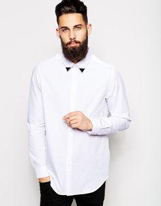 Contrast collar tips casual men shirts