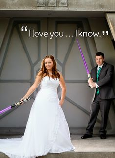 This adorable couple got to play with lightsabers on the Jedi Training Academy stage . . . we're jealous!