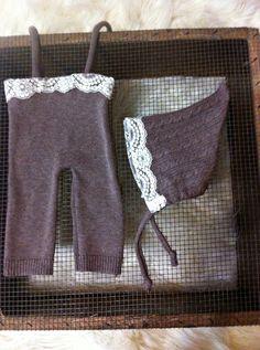 newborn photo prop girl romper pixie hat ivory lace