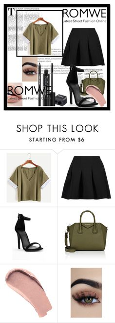 """""""#romwe"""" by softic013 ❤ liked on Polyvore featuring T By Alexander Wang, Givenchy, Burberry and Rodial"""