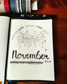 Bullet journal monthly cover page, November cover page, November rain bullet journal theme. @risha__.__