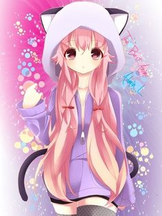 Cute anime girl with cat ears and tail. Description from pinterest.com. I searched for this on bing.com/images