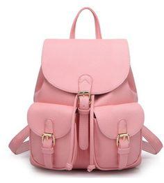 Wheretoget - Light pastel pink leather backpack