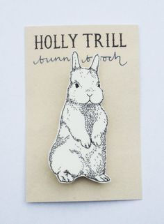 Illustrated Bunny Rabbit Brooch by HollyTrill on Etsy