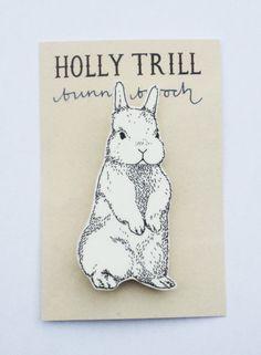 Illustrated Bunny Rabbit Brooch by HollyTrill on Etsy, £4.50