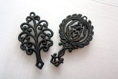 Vintage Pair of Petite Cast Iron Trivets  Tree and by OneDecember, 11.00