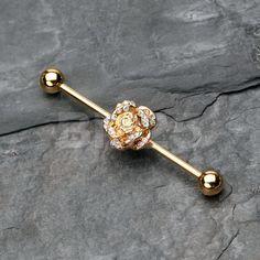 Rayo oro rosa flor Barbell Industrial por BM25Jewelry en Etsy