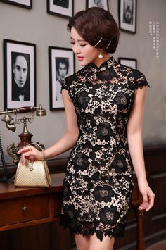 Black lace cream lined mini qipao short Chinese summer cheongsam dress Sexy Dresses, Cute Dresses, Beautiful Dresses, Short Dresses, Formal Dresses, Ao Dai, I Dress, Lace Dress, Fashion Vestidos
