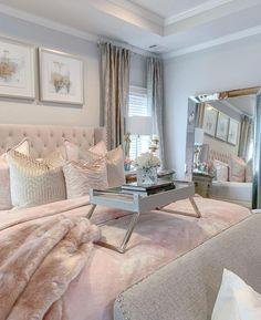 Rich Girl Bedroom, Glam Bedroom, Room Ideas Bedroom, Home Bedroom, Bedroom Decor, Decoration Inspiration, Room Inspiration, Decor Ideas, Aesthetic Bedroom