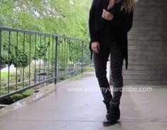 Sweater: #ChicWish Black coat: H&M Grey ankle zip pants: #OldNavy Sneakers: #Target