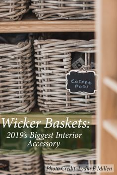 Who would've thought that wicker baskets would be biggest interior accessory? And the question is why? We have the answer for that. Lined Wicker Baskets, Wicker Baskets With Handles, Rattan Basket, Pantry Baskets, Storage Baskets With Lids, Interior Design Inspiration, Home Decor Inspiration, Lydia Elise Millen, Kitchen Larder