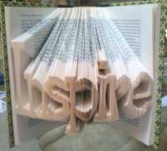 Word Book Sculpture by LaynieAart on Etsy from LaynieAart on Etsy. Shop more products from LaynieAart on Etsy on Wanelo. Folded Book Art, Book Folding, Decor Crafts, Fun Crafts, Paper Crafts, Book Sculpture, Sculptures, Thats The Way, Altered Books