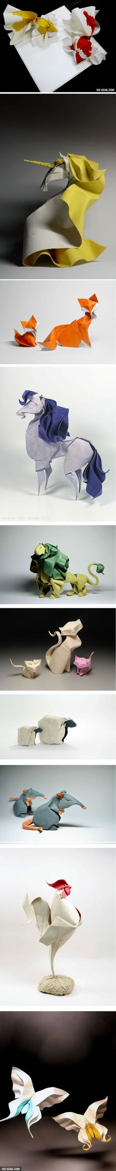"""Artist Creates Incredibly Realistic Animal Origami Using """"Wet-Folding"""" Skills (By Hoàng Tiến Quyết)"""