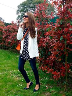 Polka dots blouse look