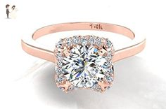 Diamond Engagement Ring, Bridal Diamond Ring, 14k Rose Solid Gold, Diamond Halo Wedding Ring, Rose Gold Ring With Round Shape Center Stone, Proposal Ring. - Wedding and engagement rings (*Amazon Partner-Link)