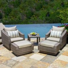 RST Outdoor Cannes Club Chair and Patio Ottoman Set with Slate Grey Sunsharp at The Home Depot Grey Cushions, Outdoor Cushions, Outdoor Seating, Outdoor Decor, Outdoor Ideas, Outdoor Spaces, Indoor Outdoor, Cannes, Outdoor Living Furniture